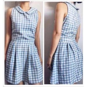 Paper Crane White & Blue Plaid Dress